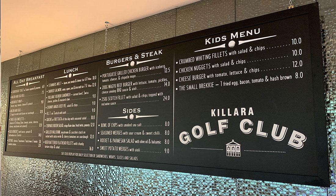 Takeaway menu board