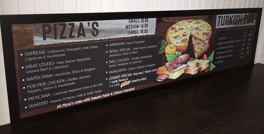 Pizza Chalkart menu Board