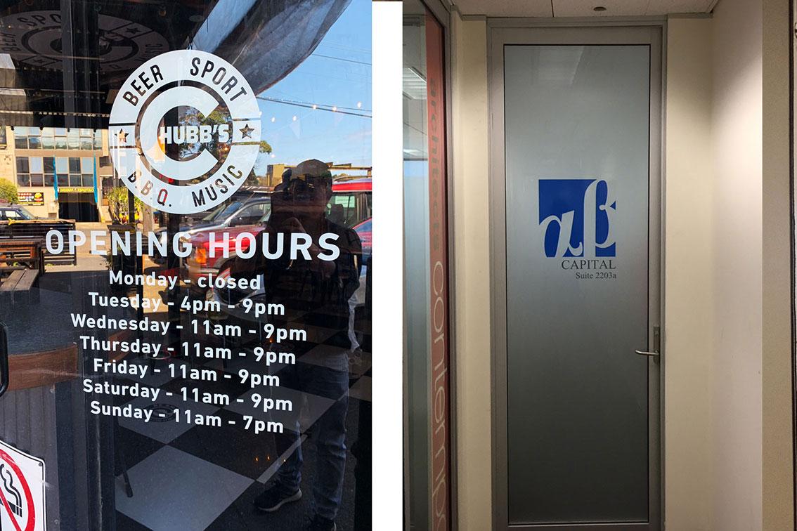 Trading Hours Door Sign